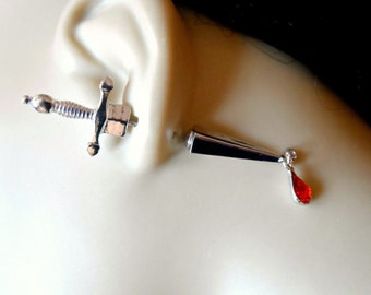 Silver Dagger Earring with Red crystal Drop Briolette - Gothic Earrings / Sword Earrings / Hip Trendy Earrings