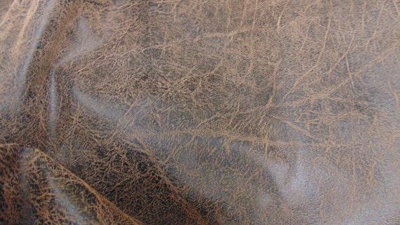 Brown Black Distressed Faux Leather Fabric Upholstery By