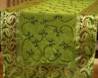 Hand Embroidered 120 Inch By 17 Inch Long Table Runner (Citrus Green)
