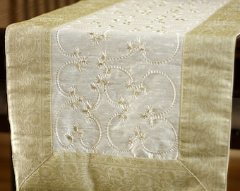 Hand Embroidered 120 Inch By 17 Inch Long Table Runner (Beige)
