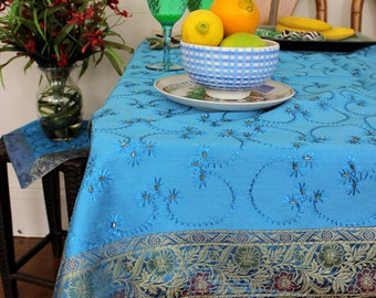 "Hand Embroidered Rectangular Tablecloth (Ocean Blue, 52"" X 70"")"