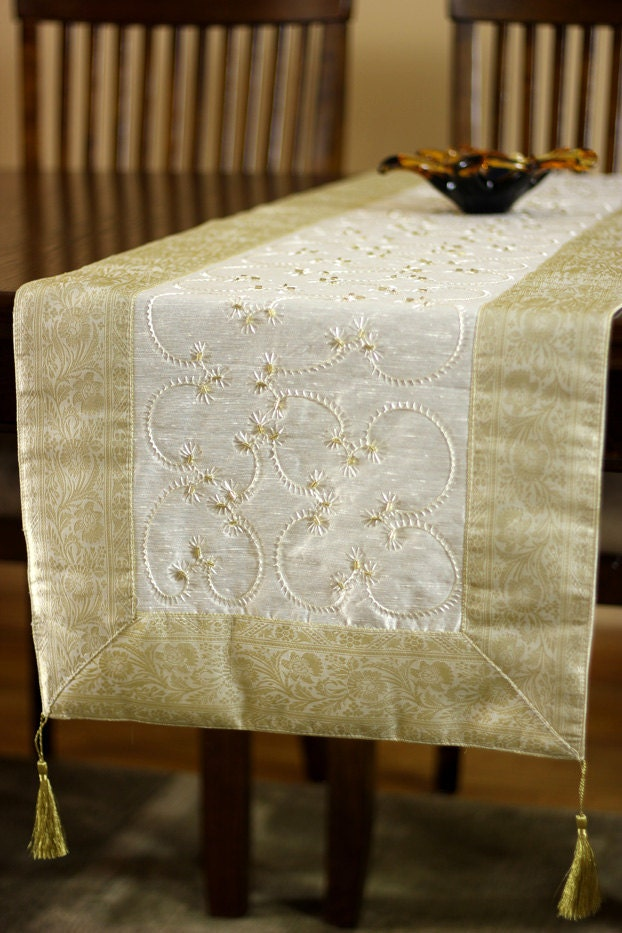 Hand embroidered 120 inch by 17 inch long table runner beige for 120 inch table runner