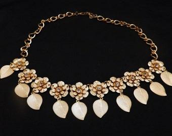 Rhinestone Flower Necklace Brushed Gold Metal
