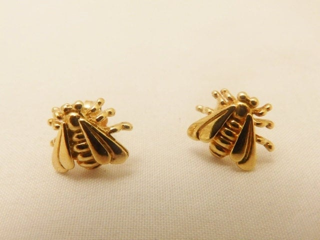 Gorgeous Sterling Silver Dyadema Gold Tone Bumble Bee Earrings