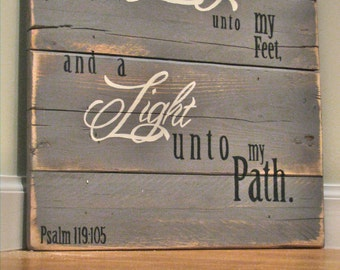 Hand painted pallet wood sign with scripture verse Psalm 119:105