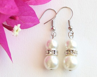 Bridesmaid earrings, pearl earrings, wedding gift, bridal jewelry, wedding jewelry, bridesmaid pearl earrings, wedding set, rondelle