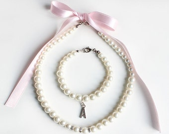Custom flower girl necklace bracelet, personalized flower girl bracelet, blush pink flower girl jewelry, pearl necklace, bracelet