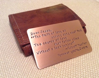 Wallet love note, Copper 7th anniversary gift, Wedding gift