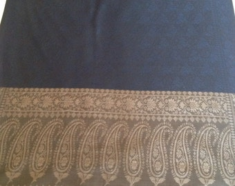 All season pure silk scarf stole shawl in black with dark blue embossed border in Indian paisley pattern