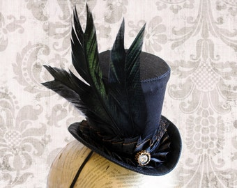 Black Victorian Mini Top Hat - Gothic Tea-party Mini Top Hat - Steampunk Mini Top Hat - Ready to Ship