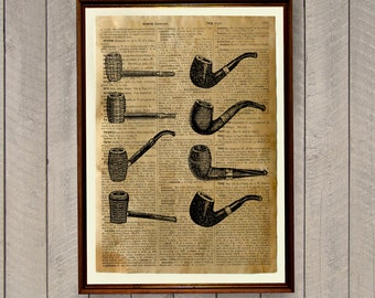 smoking pipes poster manly decor dictionary print vintage illustration wa41