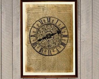 Antique clock decor Steampunk print Vintage illustration Dictionary page WA252