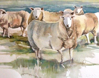 Sheep in the Meadow Original Watercolor Painting