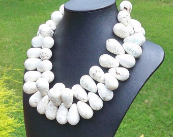 LARGE WHITE TURQUOISE Necklace Statement Necklace 30mm White Turquoise Teardrop Gemstone Beaded Necklace Ethnic Chunky Tropical Beach Bride