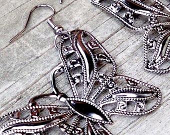 Stella - LARGE Pewter Gunmetal Gray Butterfly Dangle Fish Hook Earrings - Long, Butterflies, Nature