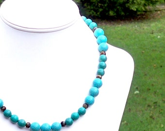 Lou - Chunky Turquoise Green and Brown Beaded Necklace - Neutral, Everyday, Simple