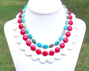 Fourth of July Necklace Fourth of July Jewelry Red White Blue Necklace Triple Strand Necklace 3 Strand Necklace Chunky Gemstone Necklace