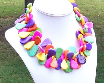Magdalane - Tribal Extra Chunky 15mm to 35mm Multicolor Rainbow Turquoise Teardrop Howlite Gemstone Beaded Necklace