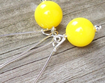 Glendale - 12mm Round Sunny Yellow Silver Dangle Earrings