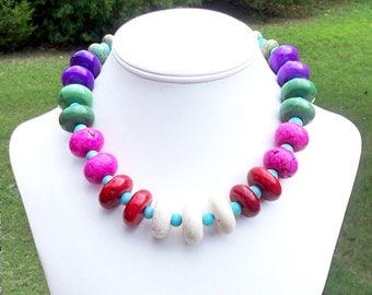 Rainbow Necklace Multicolor Turquoise Necklace Colorful Necklace Colorful Gemstone Necklace Chunky Necklace Colorful Statement Necklace Pink