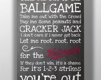 Washington Nationals- Take Me Out to the Ballgame Chalkboard Print