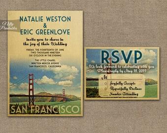 San Francisco Wedding Invitation - Printable Vintage San Francisco California Wedding Invites - Retro Wedding Suite or Solo VTW