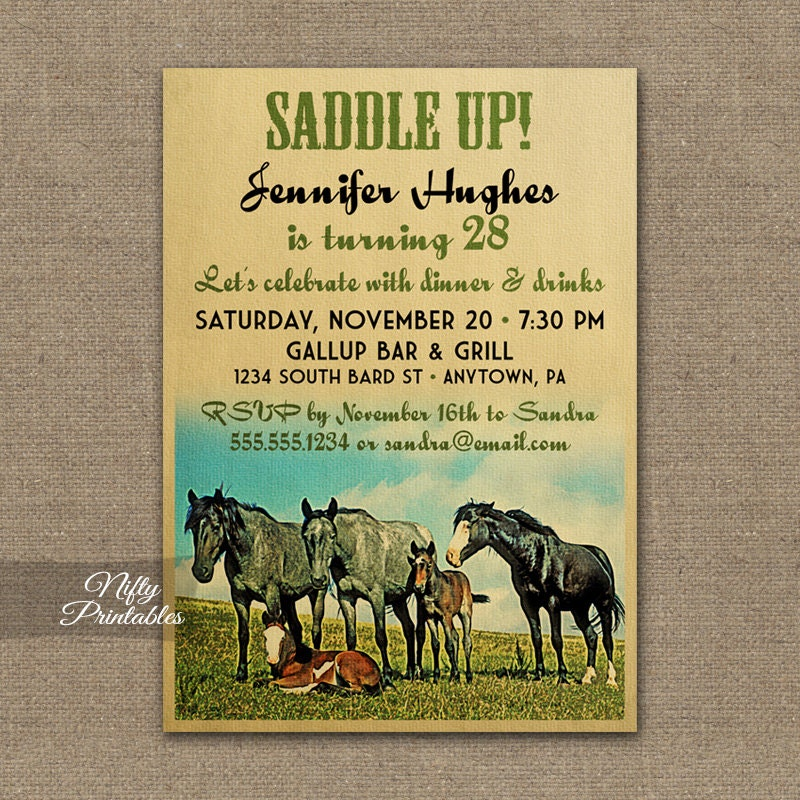 Horse Birthday Invitations Printable Equestrian Birthday