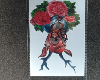 body art ---temporary tattoo---roses and reindeer