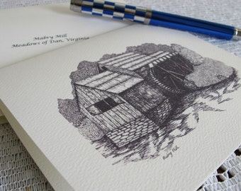Mabry Mill Pen and Ink Note Cards