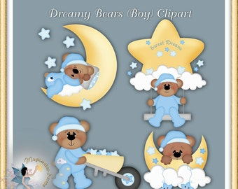 Baby clipart, Boy Teddy Bear digital scrapbook elements for commercial use