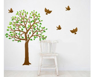 Large Wall Tree Stencils Spring Songbirds Reusable stencils better than decals - for DIY decor Rooms