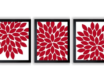 INSTANT DOWNLOAD Red White Chrysanthemum Set of 3 Art Printable Abstract Art Flower Print Wall Decor Modern Minimalist Bathroom