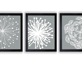 INSTANT DOWNLOAD Silver Grey White Set of 3 Dandelion Art Printable Abstract Art Flower Print Wall Decor Modern Minimalist Bathroom Bedroom