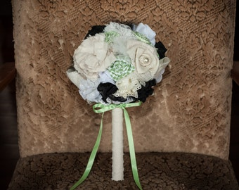 Vintage inspired fabric bridesmaid bouquet in black, green and cream