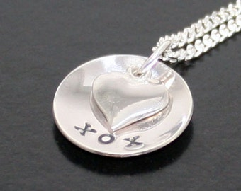 xox kiss hug kiss necklace sterling silver heart pendant mothers day valentine bridesmaid favor