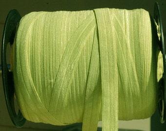 "5 Yards - Fold over Elastic-Shiny 5/8""- Pear Green"