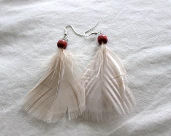 Boho Feather and Wood Earings