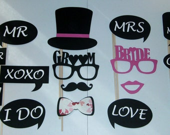 Bride and Groom Photo Prop Wedding words Marriage Censored Love Photo Booth Props (2010D)