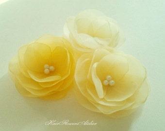 Wedding Yellow Hair Flowers Bridal Yellow Hair Clips Pale Yellow Bridal Hair Clips Yellow Wedding Pale Yellow Headpiece Yellow Flower Girl