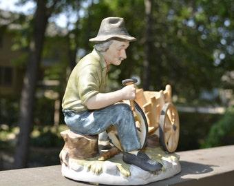 Old Farmer Figurine, Farming, Vintage Norleans, Old Bisque Figurine,  Collectible Figurines, Shelf Decor, Shelf Sitter, Gifts