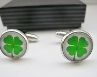 "Irish Cufflinks Four Leaf Clover 14mm (1/2"") Shamrock Irish Cuff Links Mens, Boys, Groomsmen Cuff Links, Irish Jewelry Gifts"