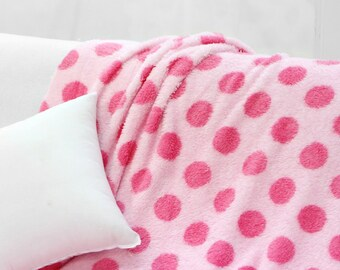 "Velbor Fabric 1.96"" (5 cm) Pink Polka Dot By The Yard"