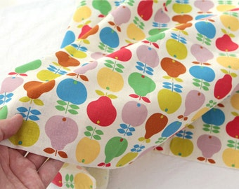 Cotton Linen Fabric Apple & Pear in 2 Colors