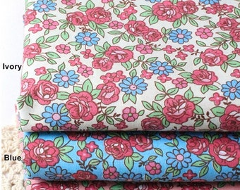 Waterproof Cotton Blend Fabric Flower in 3 Colors By The Yard