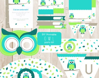 DIY Printable Owl party kit - Instant download