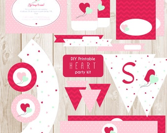 DIY Printable Heart party kit - Valentine's Day - Love party - Instant download