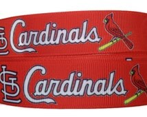 "7/8"" Grosgrain St. Louis Cardinals Ribbon By The Yard by KC Elastic Ties"