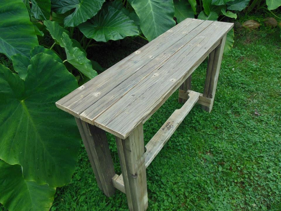 Reclaimed pallet wood sofa console table for Sofa table made from pallets
