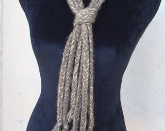 crochet tie necklace pigtails cotton wool