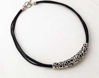 Black Leather Necklace,  Statement Necklace,Leather necklace,Silver Necklace,